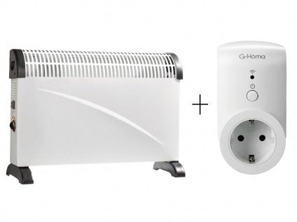 Konvektor Heizung, 3 Stufen + WiFi Schaltsteckdose mit Appsteuerung, Heizgerät