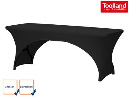 Hochwertige STRETCH Tisch-Husse schwarz 180 x 75cm, Tisch Bezug Decke Hussen
