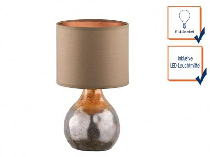 Dekorative Keramik Tischleuchte braun 31cm mit LED, Design Lampenschirm Textil - Vorschau 3