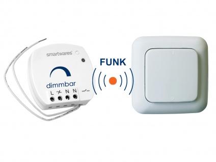 SmartHome Funk Schalter Set = Mini Funk-Einbaudimmer + Funk-Wandschalter 100W