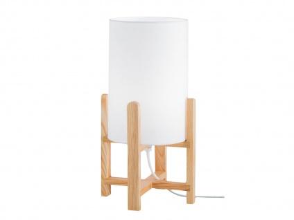 Design Nachttischleuchte mit Stoff Lampenschirm & Holzfuß E27 -fürs Wohnzimmer