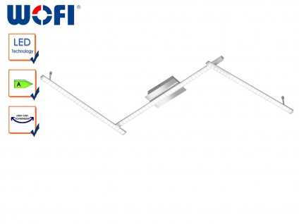 LED Deckenleuchte modern, Chrom poliert, Arme verstellbar, Wofi-Leuchten