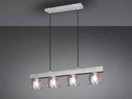 Naturholz LED Pendelleuchte in grau mit 4 Rauchglas Lampenschirmen für Esszimmer