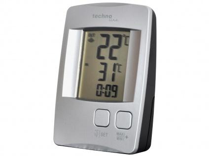 Temperaturstation mit Quarzuhr, silber, inkl. Funksender TX 9116 - Vorschau 2