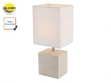Tischlampe klassisch Wohnraum 2x Globo Tischleuchte Keramik beige Stoff weiß