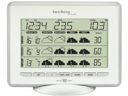 WetterDirekt-Station, Thermometer, 5-Tage Prognose, silber-weiß
