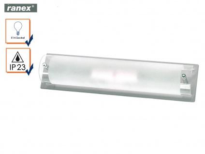 Wandleuchte Bad gebürsteter Stahl mit Glas E14 Fassung IP23 Badezimmerleuchten