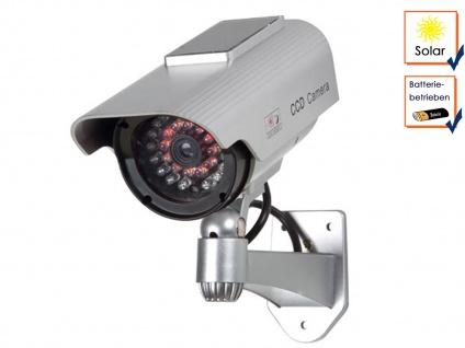 Kamera Attrappe mit Solarmodul, IR-LEDs (Imitation), Dummy Überwachungskamera