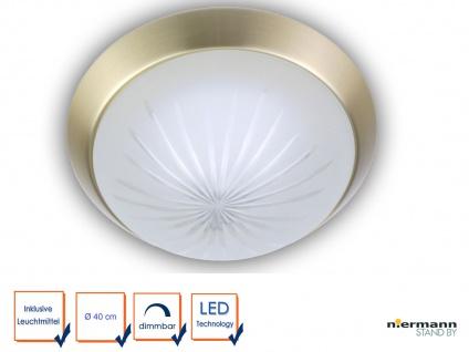 LED Küchenleuchte rund Ø40cm Schliffglas / Messing matt Treppenhausbeleuchtung