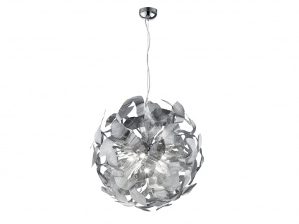 Moderne Pendelleuchte aus chromfarbigem Metall im Blätter-Design, E- A++, Ø 70cm