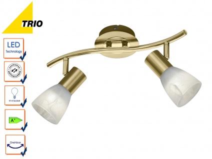2 flammiger LED Deckenstrahler für Innen schwenkbar Messing matt fürs Wohnzimmer - Vorschau 4