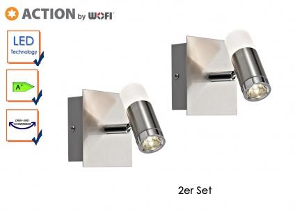 2er Set LED Wandleuchte, Chrom, schwenkbar, HUELVA, Wandlampe Wandspot LED Spot