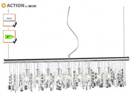 9-fl. Pendelleuchte mit LED Chrom & Kristallbehang klar L. 120cm Esstischlampen