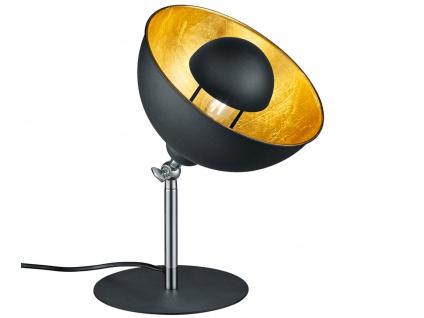 Retro Nachtischleuchte mit Lampenschirm schwenkbar in Schwarz / Gold E14-Fassung