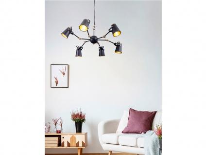 Coole Deckenlampe für Wohnzimmer aus Metall in schwarz mit 6 verstellbaren Spots - Vorschau 5