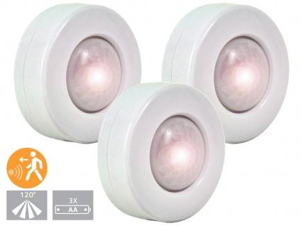 3er-SET LED Nachtlichter mit Bewegungsmelder, Orientierungslicht Schranklicht