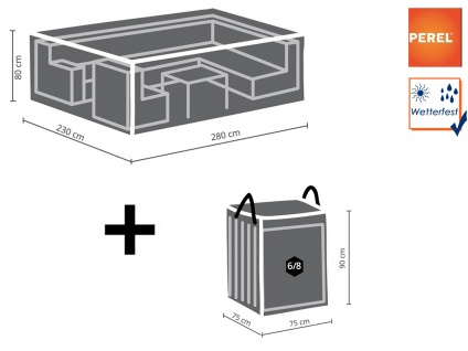 Schutzhüllenset XL: Abdeckung 280x230cm für Gartenlounge + Hülle für 6-8 Polster