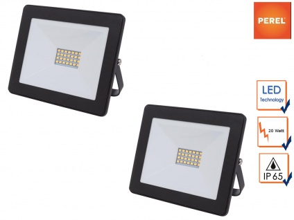 2er Set 20W LED Baustrahler klein IP65 für Außen, Fluter Strahler Scheinwerfer