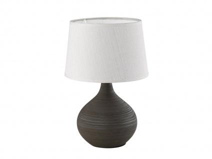 Keramik Tischleuchte 29cm hoch mit rundem Stofflampenschirm Ø 20cm in Creme E14
