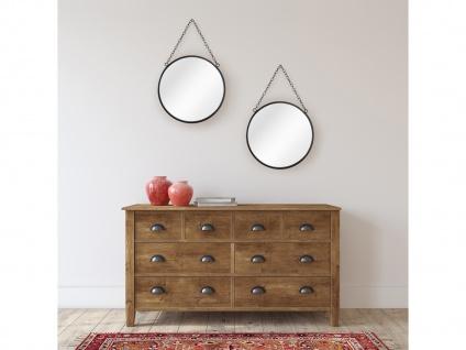 Kleiner Hängespiegel mit Spiegelaufhängung Deko Wandspiegel 2er SET rund schwarz
