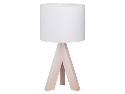LED Tischleuchte aus Holz mit Stoff Lampenschirm in Weiß Ø17cm fürs Wohnzimmer