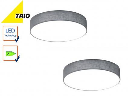 2er Set Trio LED Deckenleuchte LUGANO 30cm Stoff grau, Flurlampe Wohnzimmerlampe