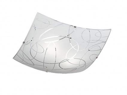 Deckenschale 40x40cm, Lampenschirm aus Glas in weiß mit Dekor - Dielenleuchte