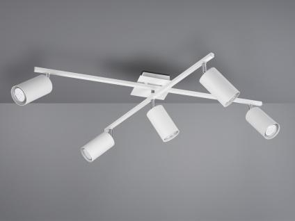 5fl. Deckenstrahler mit LEDs für Wohnzimmer, Schlafzimmer, Küche aus weißem Metall