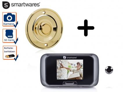 Set: Klingelplatte Messing rund + Türspion mit Kamera, Klingel Einfamilienhaus - Vorschau 1