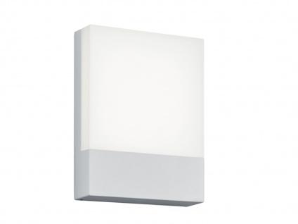 Moderne LED Wandlampe für draußen -eckige Hausnummernleuchte Aluminium weiß IP54