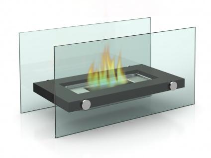 Design Tischkamin für Bio Ethanol, 34x17cm, Tischfeuer Glaskamin Kaminfeuer