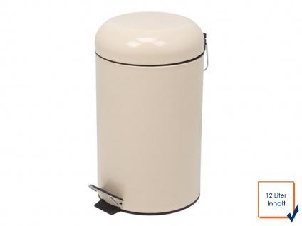 Perel Mülleimer 12L Creme, Treteimer Abfalleimer Abfallsammler Müllsammler
