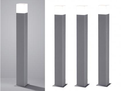 LED Pollerleuchte in Hell Grau 80cm - 3er Set Wegeleuchten Terrassenbeleuchtung
