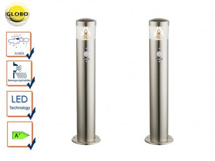2er Set LED Außenlampe mit Bewegungsmelder, Wegeleuchte Pollerleuchte Edelstahl