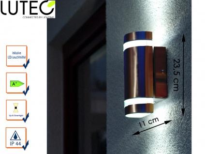 LED Außenwandleuchte Edelstahl IP44 H. 23, 5 cm Fassadenbeleuchtung Wandleuchte