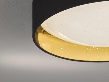 Dimmbare LED Sternenhimmel Deckenleuchte Ø40cm, Lampenschirm Stoff schwarz gold - Vorschau 5