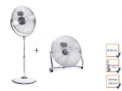Set Großer Stehventilator & Bodenventilator Ø 45cm ? Tischlüfter Winderzeuger