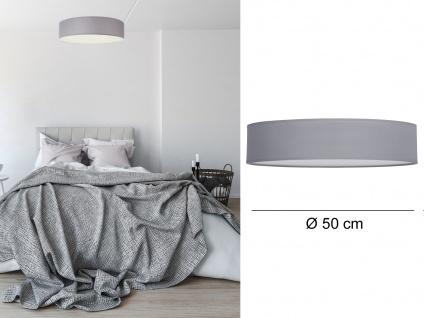 Runde LED Deckenleuchte Ø50 mit grauem Stoffschirm - Lampenschirm Deckenlampen