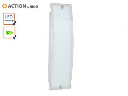 LED Wandlampe gebogen, Glas weiß / Rand klar, Action by Wofi
