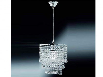 Kleiner LED Kronleuchter runder Lüster Pendel Chrom mit Kristallbehang aus Acryl