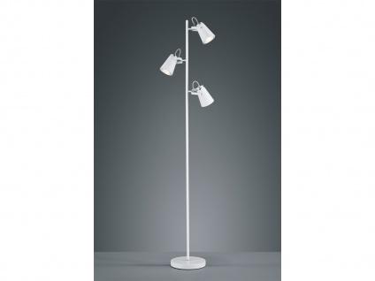 Design Stehleuchte in weiß matt mit 3 Strahlern variabel einstellbar, Höhe 160cm