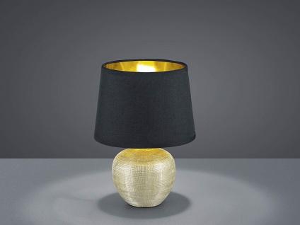 Keramik Tischleuchte LED 35cm hoch mit Stofflampenschirm Ø 24cm in Schwarz/Gold
