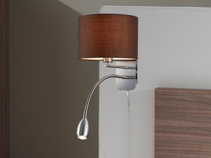 LED Wandleuchte Stoffschirm braun mit Leselampe & Stecker Wandlampen fürs Bett