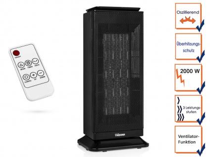 Oszillierender Elektroheizer Keramik 2000W mit Timer, Thermostat & Ventilator