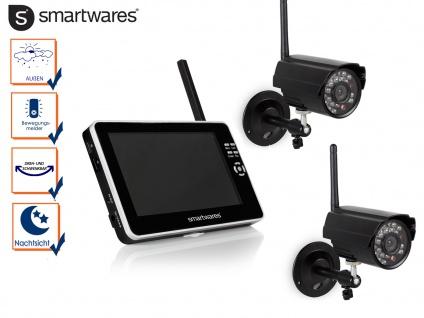 Überwachungskamera Set mit 7Zoll Touchscreen, Nachtsicht und Bewegungssensor