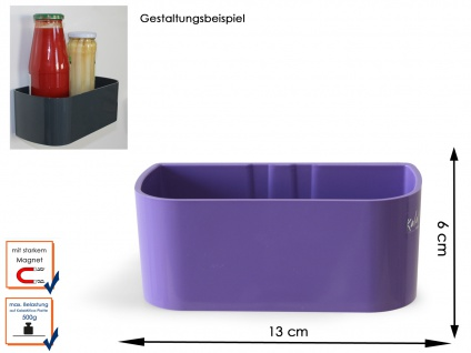 Kunststofftopf mit Magnet Kasten B. 12 cm, Wandaufbewahrung Wanddeko, KalaMitica