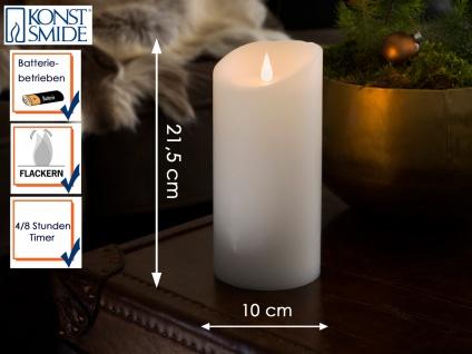 LED Echtwachskerze 3D Flamme & Timer Batteriebetrieb H. 21, 5 cm Stimmungslicht - Vorschau 1