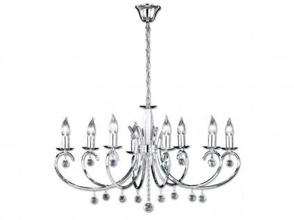 8-flammiger Kronleuchter in Chrom, Glasbehang, 83 x 60 cm, Honsel-Leuchten