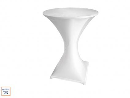Robuster STEHTISCH klappbar Ø80cm weiß mit Stretch-Husse Weiß, Klapp Tisch