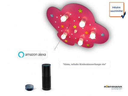 LED Mädchen Deckenlampe für Kinderzimmer Stoffblumen NEU Amazon Echo kompatibel